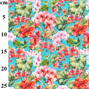 100% Cotton - Pink and red flowers on blue - Extra Wide-Little Miss Sew n Sew