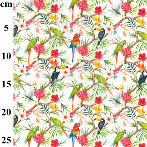 100% Cotton - Tropical birds and flowers on white - Extra Wide-Little Miss Sew n Sew