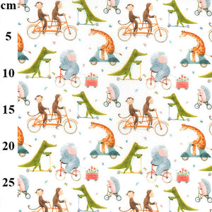 100% Cotton - Cute animals on bikes - Extra Wide-Little Miss Sew n Sew
