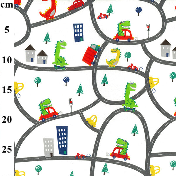 Cotton Spandex Jersey Print - Cars and Dinosaurs-Little Miss Sew n Sew