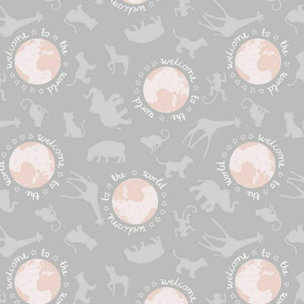 Lewis & Irene - Welcome To The World Pink on Grey-Little Miss Sew n Sew