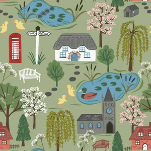 Lewis & Irene - The Village Pond - Village Scene on Light Grass-Little Miss Sew n Sew