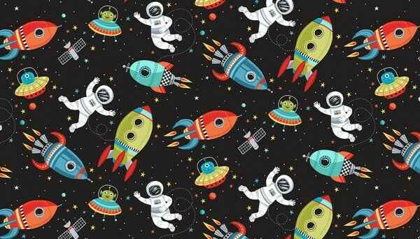 Makower UK -Outer space - Space scene black-Little Miss Sew n Sew