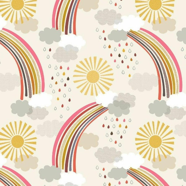 Lewis & Irene - Rainbows - Calming Rainbows on Cream-Little Miss Sew n Sew