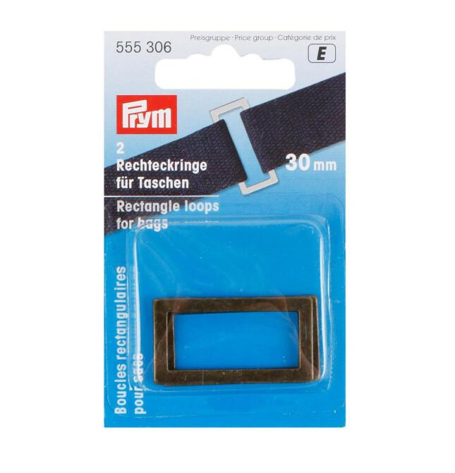 Prym Rectangle loops for bags, 30mm, antique brass-Little Miss Sew n Sew