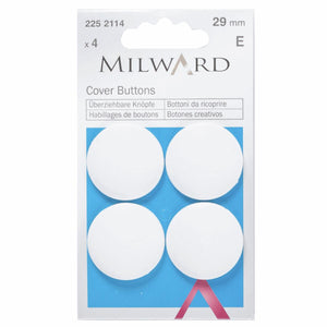 Cover Buttons: Plastic: White: 29mm: 4 Pieces-Little Miss Sew n Sew