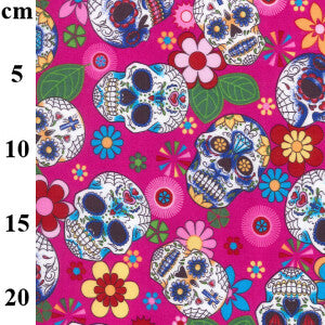 100% Cotton Poplin Print - Sugar skulls on pink-Little Miss Sew n Sew