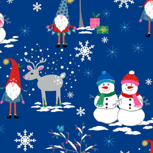 Michael Miller Fabric - Snow Village - Gnome to Fa la Royal-Little Miss Sew n Sew