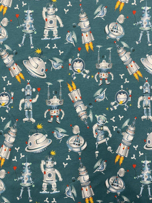 Cotton Jersey Print - Robot Dance - Teal-Little Miss Sew n Sew
