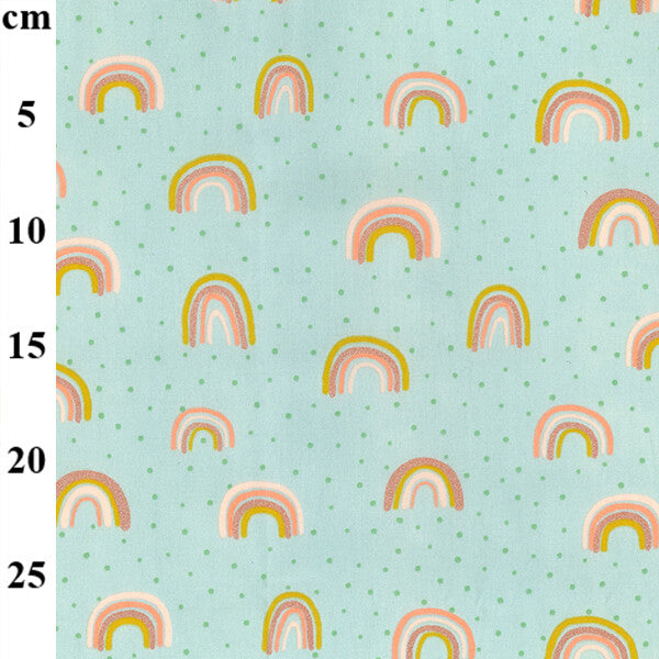 100% Cotton Glitter Prints - Rainbows Mint - Extra Wide-Little Miss Sew n Sew