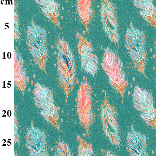 Organic Printed Jersey - Feathers on Aqua-Little Miss Sew n Sew