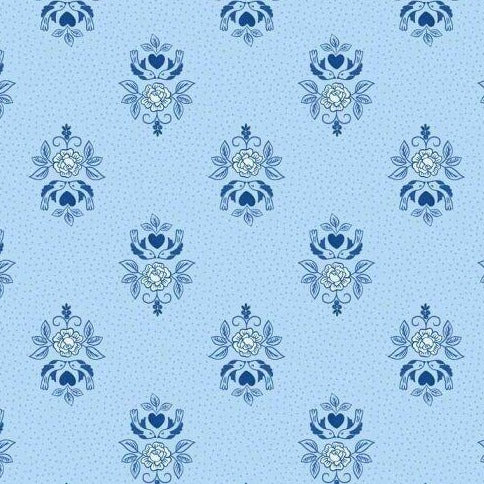 Lewis & Irene - Teatime - Little Bird Roses on China Blue-Little Miss Sew n Sew
