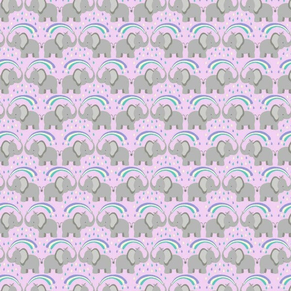 Lewis & Irene - Rainbows - Rainbow Elephants on Light Lilac-Little Miss Sew n Sew