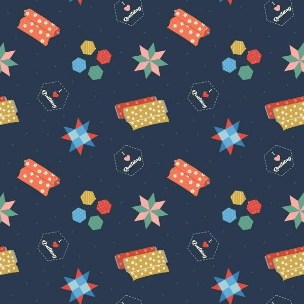 Lewis & Irene - Small Things... Crafts - Quilting on Dark Blue-Little Miss Sew n Sew