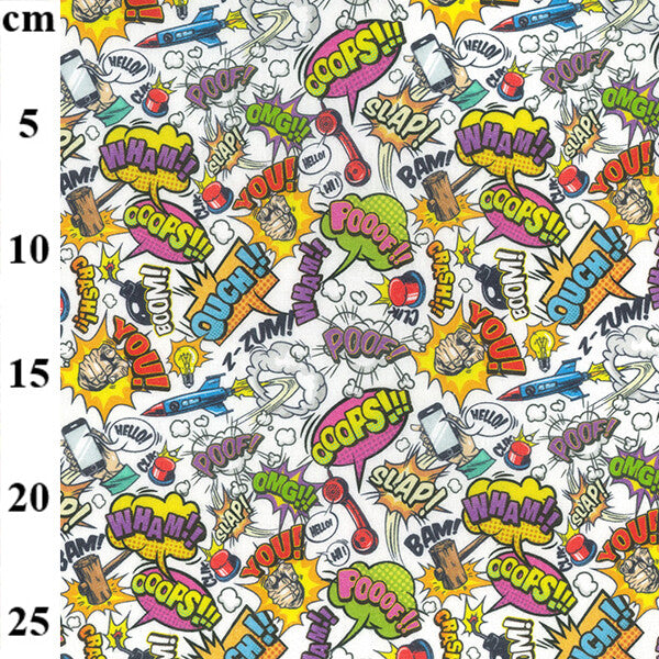 100% Cotton Print - Comic Words on White 150cm-Little Miss Sew n Sew
