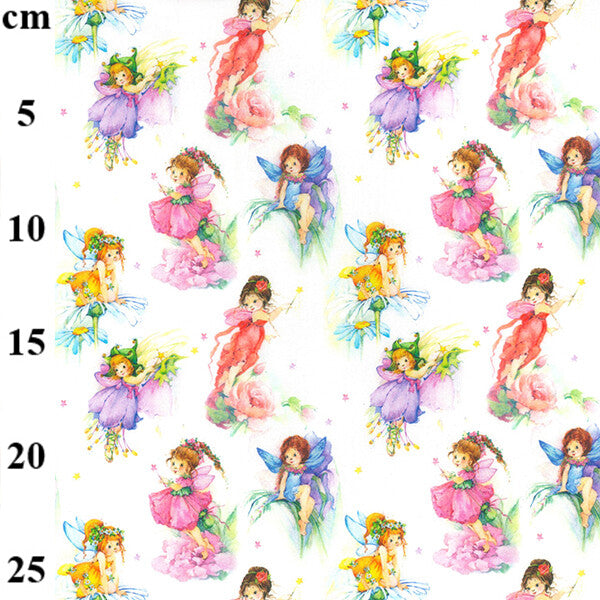 100% Cotton Print - Fairy on white 150cm-Little Miss Sew n Sew