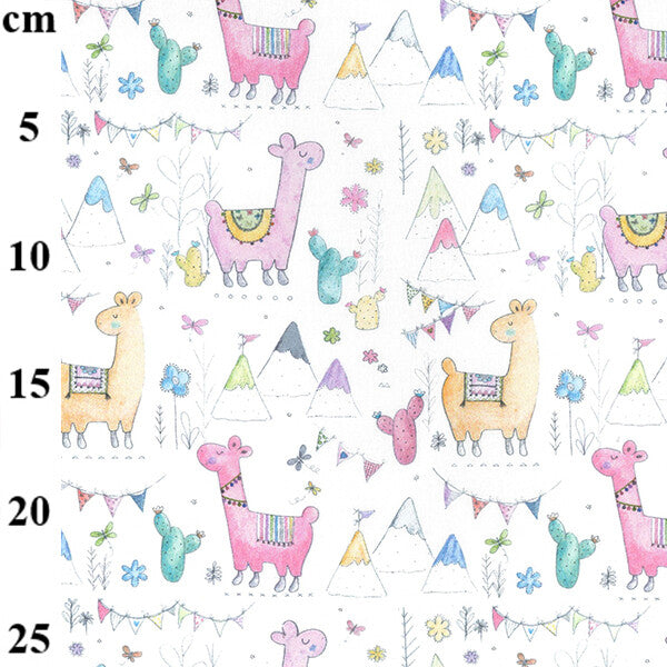 100% Cotton - Llamas on white - Extra Wide-Little Miss Sew n Sew