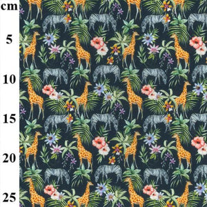 100% Cotton - African animals and flowers on Navy - Extra Wide-Little Miss Sew n Sew