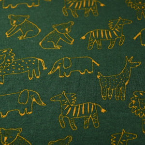 Organic Soft Sweat - Happy Animals Dark Green - GOTS certified