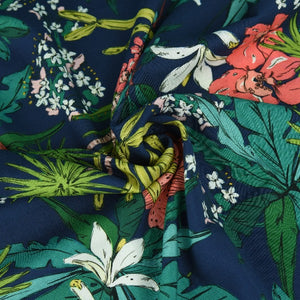 Lady McElroy - Floridian Narciso - Navy - 100% Viscose Challis Lawn Digital Print