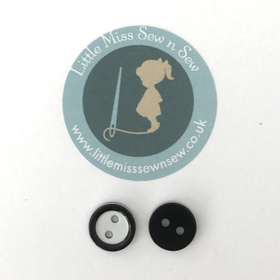 10 x 11mm Small Black Buttons-Little Miss Sew n Sew
