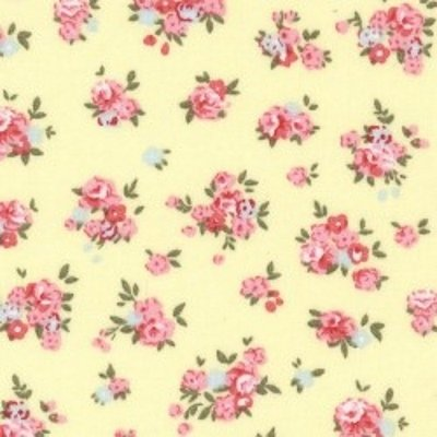 100% Cotton Poplin - Lemon with pink floral-Little Miss Sew n Sew