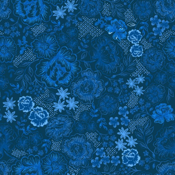 Lewis & Irene - Teatime - Teatime Floral on Darkest Blue