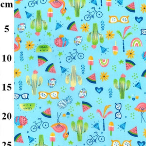 100% Cotton Poplin Print - Summer Fun on Turquoise