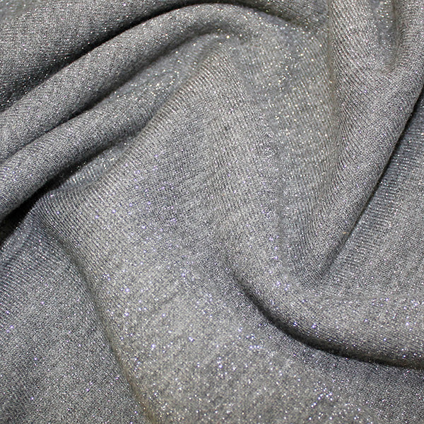 Jersey - Cotton Lurex - Grey with silver sparkles