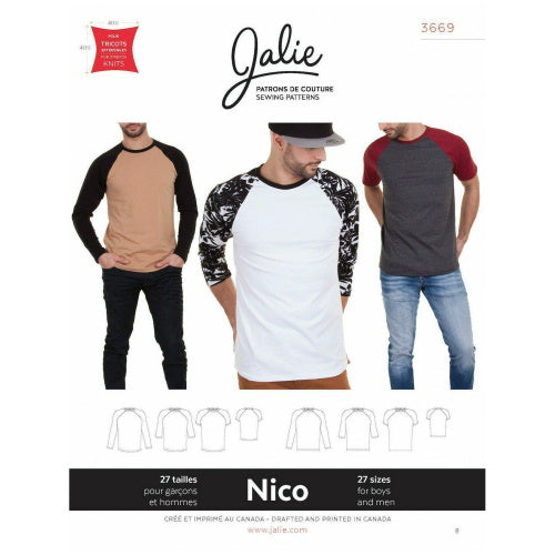 Jalie Sewing Patterns - Nico - Fitted Raglan Tee-Little Miss Sew n Sew