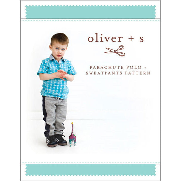 Oliver + S -parachute polo + sweatpants sewing pattern size large 5t-12t
