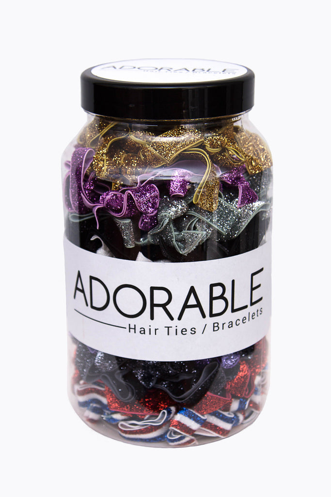 Adorable Sparkly Hair Ties Jar (200 pieces) - Adorable Hair Ties