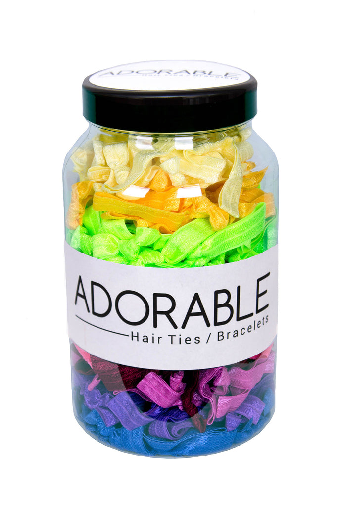 Adorable Solid Hair Ties Jar (300 pieces) - Adorable Hair Ties