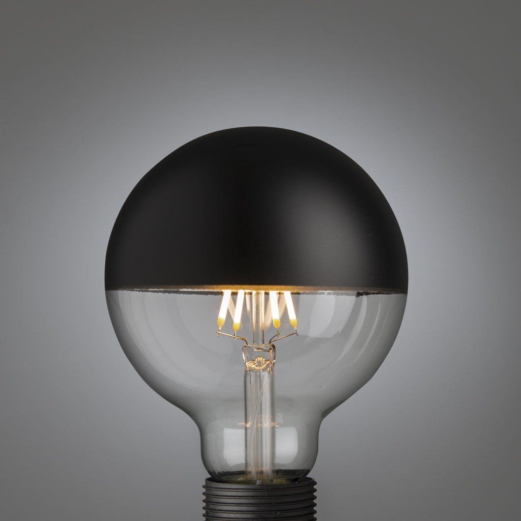 Led Glühbirne Schwarz Kopfspiegel | Big Led Filament Black Top Globe E27 - Edisson