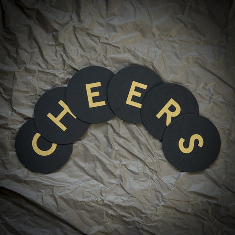 Coaster Set «CHEERS» Gold