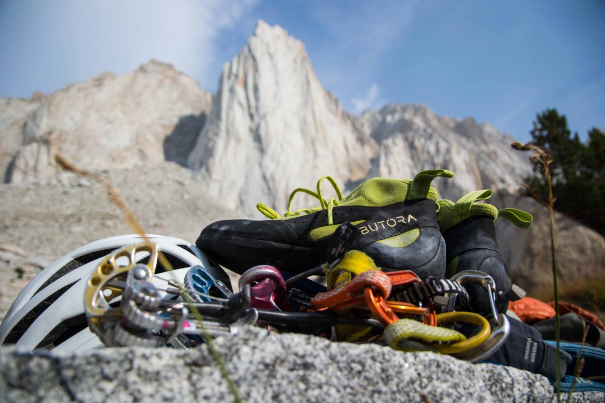 Butora Shoes along with climbing harness