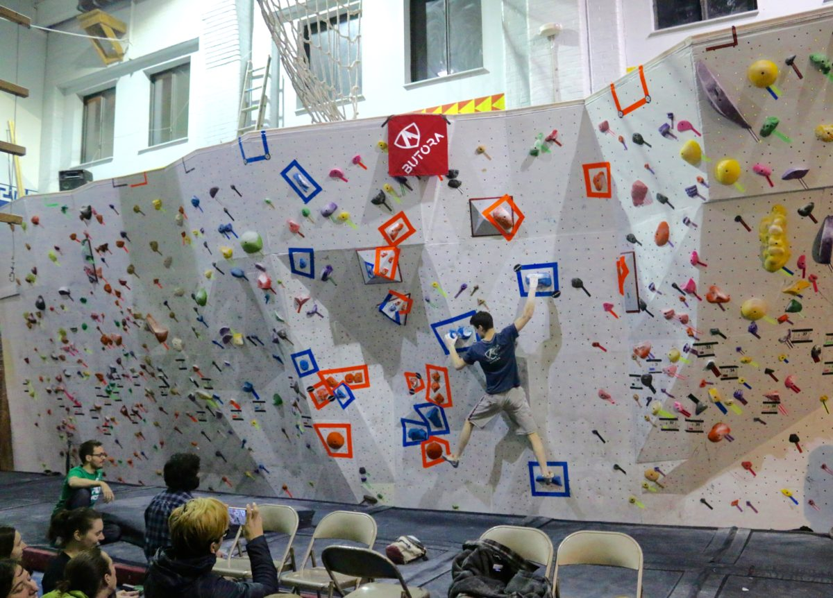 Sam Enright in Indoor Rock Climbing Competition