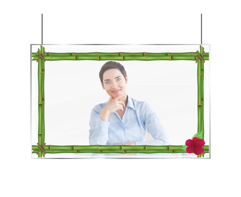 Hygiene Screen with Vinyl Decals - Bamboo with Flower Border