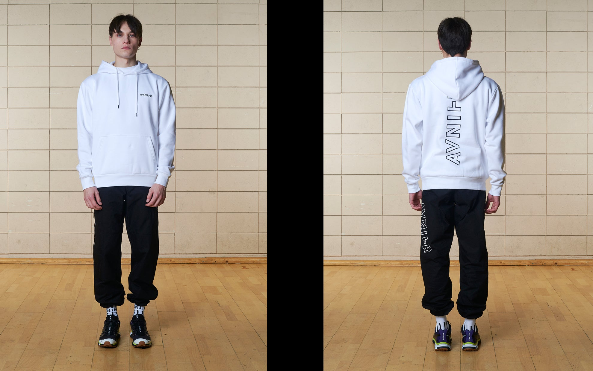 banner Vertical Back White Hoodie