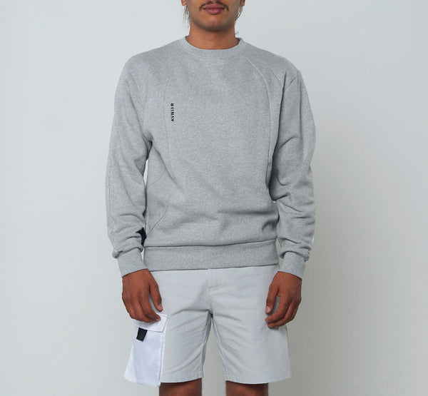 Heather Grey Mesh Crewneck