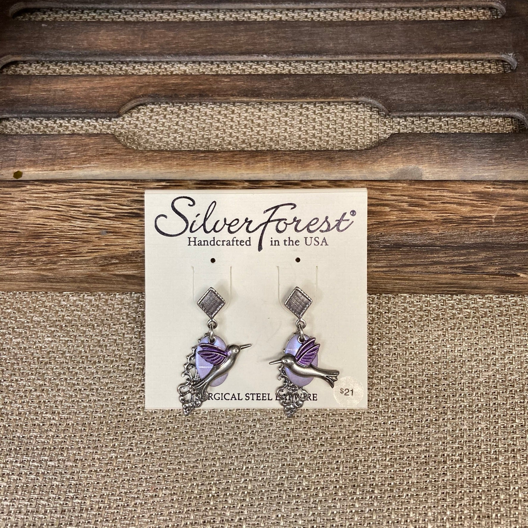 Purple Hummingbird Earrings