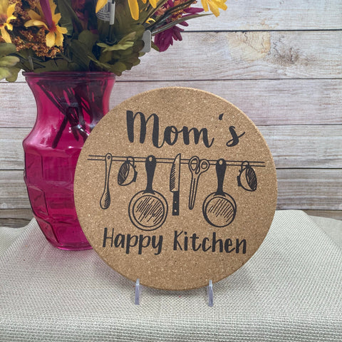 """Mom's Happy Kitchen"" Cork Trivet"