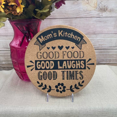 """Good Food, Good Laughs, Good Times"" Cork Trivet"