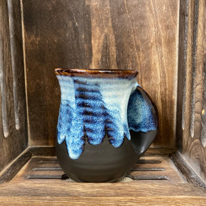 Blue Marbled Hand Warming Mug (Right Handed)