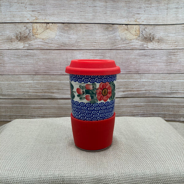 Polish Pottery Red Poppy Travel Mug