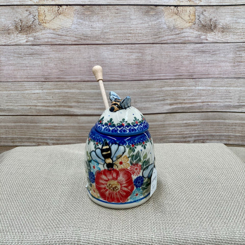 Polish Pottery Bee Honey Jar