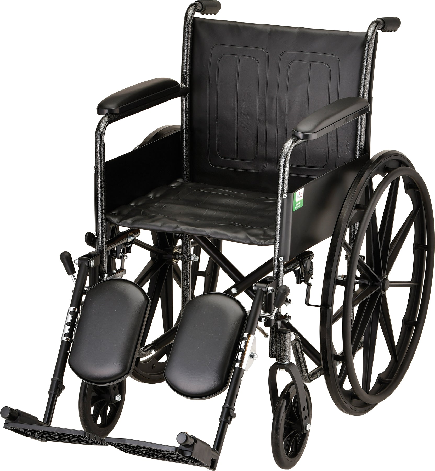 "Wheelchair Steel 18"" W/Fixed Full Arms & Swing Away Footrests"