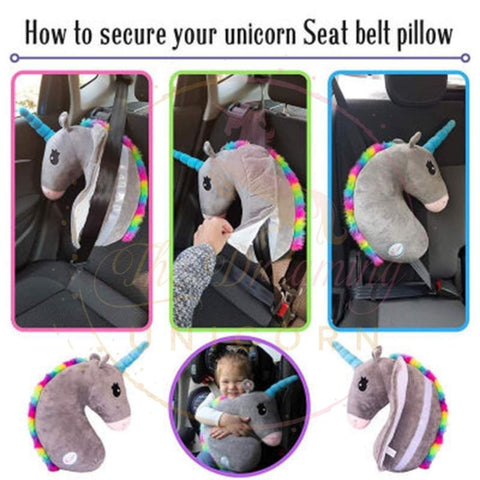 how-to set up the car seat belt unicorn pillow