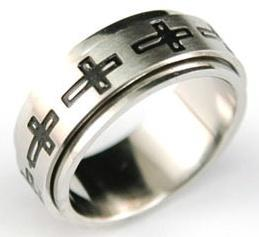 Religion Cross Solid Stainless Steel Spin Ring MR007