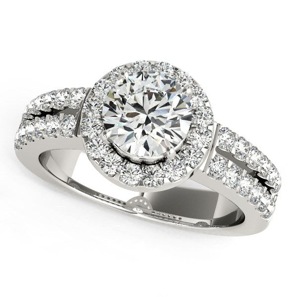 14k White Gold Halo Diamond Engagement Ring With Double Row Band (1 3/8 cttw)